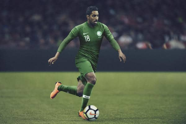 Das Saudi-Arabien Auswärtstrikot von Nike für die WM 2018. Photo: Nike Presse.