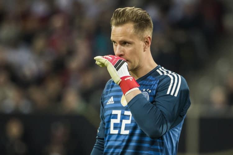 Ter Stegen im neuen WM Trikot 2018 beim Länderspiel gegen Brasilien im März 2018 (Foto AFP)
