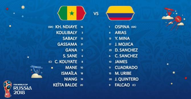 Aufstellungen von Kolumbien gegen den Senegal (Fußball heute)
