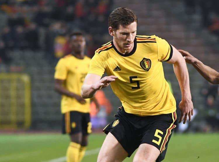 Der Abwehrspieler Jan Vertonghen im Belgien Away Trikot 2018 gegen Saudi Arabien ( Foto AFP)