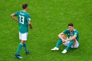 Deutschland ist bei der Fußball WM 2018 ausgeschieden! Müller und Gomez enttäuscht. / AFP PHOTO / Luis Acosta