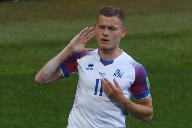Islands Stürmer Alfred Finnbogason erzielt das 1:1 gegen Argentinien im 1.WM-Gruppenspiel. Er stürmt für den FC Augsburg in der Bundesliga./ AFP PHOTO / Francisco LEONG
