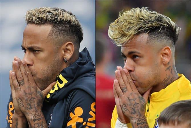 Fußball heute: Neymar mit neuer Frisur (links) will gegen Costa Rica endlich sein WM-Tor erzielen / AFP PHOTO / Adrian DENNIS AND Pascal GUYOT