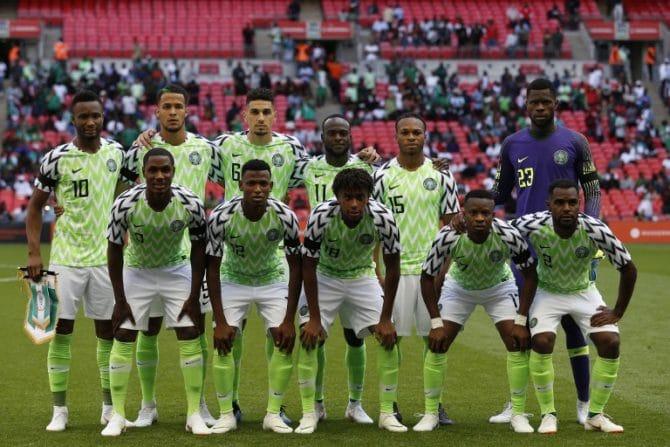 Die Startaufstellung von Nigeria bei der Fußball WM 2018. / AFP PHOTO / Ian KINGTON