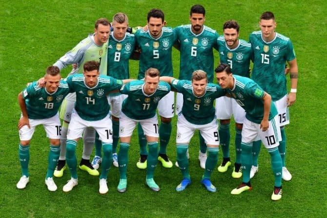 So wird die deutsche Startaufstellung (hier gegen Südkorea bei der WM 2018) nie wieder aussehen. / AFP PHOTO / Luis Acosta