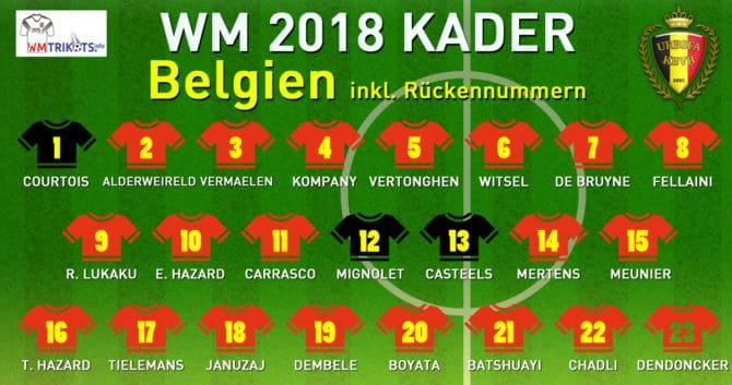 Der belgische WM Kader 2018.
