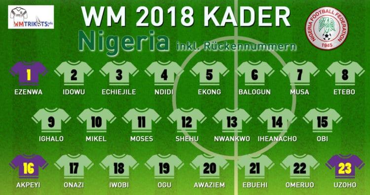 Das ist der WM Kader von Nigeria 2018.