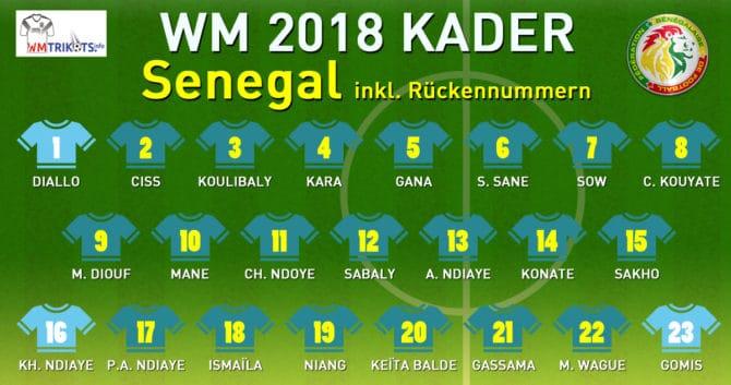 Der endgültige WM Kader von Senegal 2018.