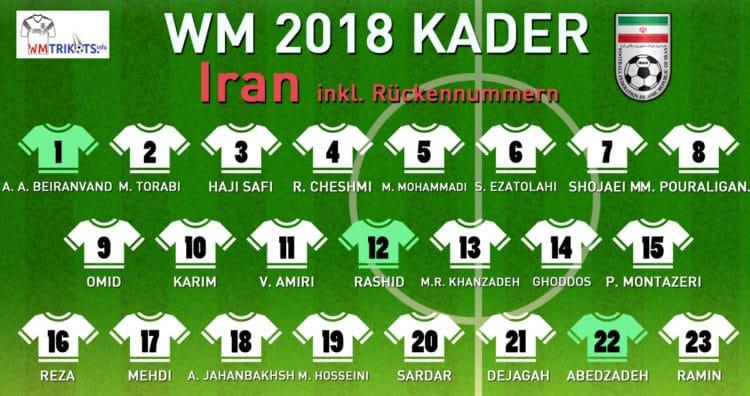 Das ist der WM Kader von Iran 2018.