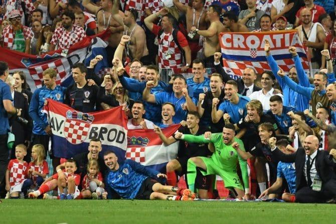 Kroatien gewinnt im WM-Halbfinale gegen England am 11. Juli 2018 und zieht ins WM-Finale gegen Frankreich ein. / AFP PHOTO