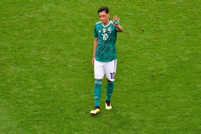 Mesut Özil bei seinem letzten DFB-Länderspiel in Kazan gegen Südkorea bei der Fußball WM 2018 - es war sein 92. und letztes Länderspiel. / AFP PHOTO / Luis Acosta /