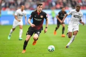 Leverkusens Mittelfeldhoffnung Kai Havertz im Ballbesitz beim Spiel Leverkusen gegen Frankfurt in der Bundesliga in Leverkusen, 14. April 2018. / AFP PHOTO / Patrik STOLLARZ /