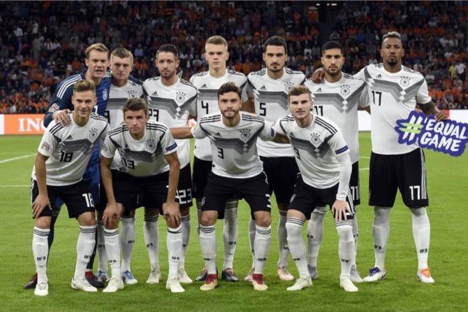 Die deutsche Startaufstellung gegen die Niederlande am 13.10.2018 in der Uefa Nations League. (Photo by JOHN THYS / AFP)