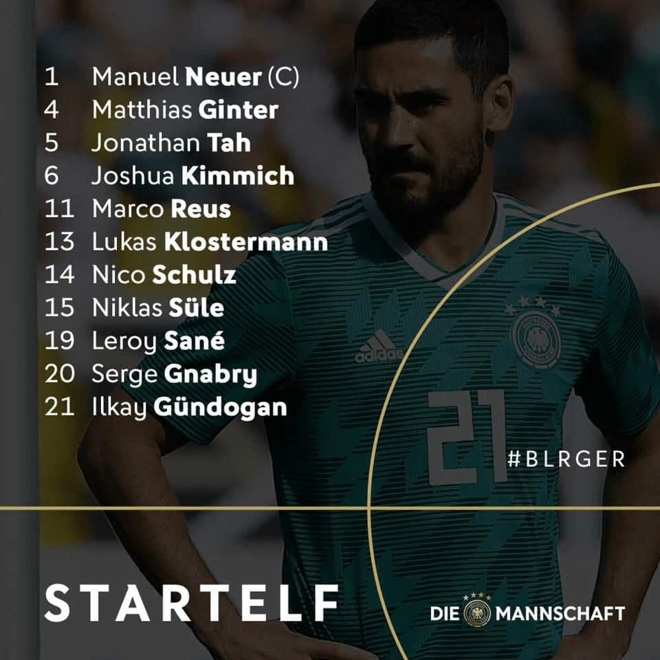 Die Aufstellung beim Länderspiel Deutschland gegen Weißrussland am 08.06.2019