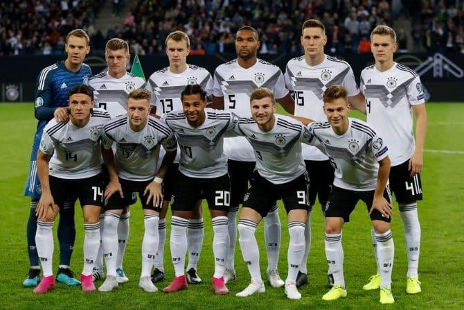 Die letzte Startaufstellung von Deutschland am 6.September 2019 gegen Holland. (Photo by Odd ANDERSEN / AFP)