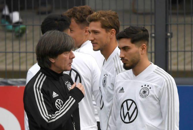 Joachim Löw im Herbst 2019 bei einer Länderspiel-Vorbereitung zusammen mit Suat Serdar (Foto AFP)