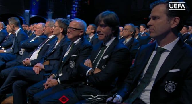 Jogi Löw bei der Nationenliga 2020 Auslosung in Amsterdam am 3.märz 2020 (Quelle: UEFA Livestream)