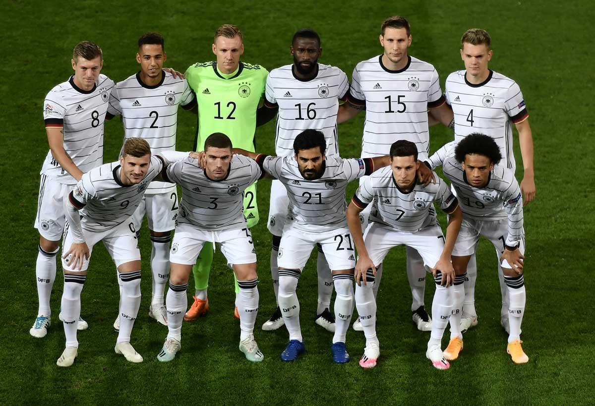 Aufstellung der deutschen Fußballnationalmannschaft im September 2020 gegen die Schweiz in der Nationenliga. (Foto AFP)