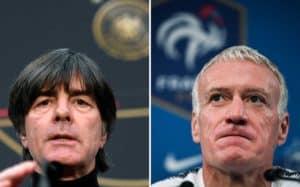 Der deutsche Trainer Löw und der französsiche Trainer Didier Dechamps - Weltmeistertrainer von 2014 und 2018. (Foto aFP)